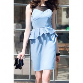 Vintage Scoop Neck Sleeveless Voile Splicing Flounce Dress For Women