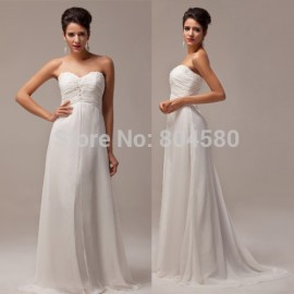Hot Stock Strapless Chiffon prom dresses Floor-Length Long evening party gown white formal dress CL6041