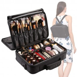 3 Layers Waterproof Makeup Bag Travel Cosmetic Case Brush Holder with Adjustable Divider  L0450
