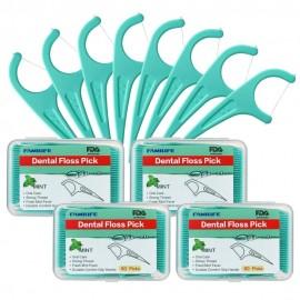Floss Picks Mint Dental Floss Picks M-01 with 4 Travel Handy Cases 240 Counts Flossers  L0518