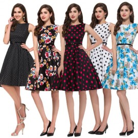 Cheap Women Winter Sleeveless Casual Polka Dots Floral Print Dresses Vintage Party Dress 50s Swing Rockabilly Beach Ball Gown