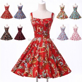 Women Vintage Cotton 50s Swing Flower dots Print Evening Prom Gown Casual Party Dress 5 Size XS~XL CL6092