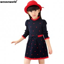 WEONEWORLD 2018 New Kids Sweater Dress Spring Autumn Winter Girls Long Warm Fashion Princess Dress Bow Toddler Girls Clothes