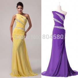 Low Price In Stock One Shoulder Sheath Chiffon Evening Dress Formal Gowns Long Mermaid Prom dresses CL4971
