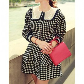 Elegant Jewel Neck Color Block Argyle Dress For Women