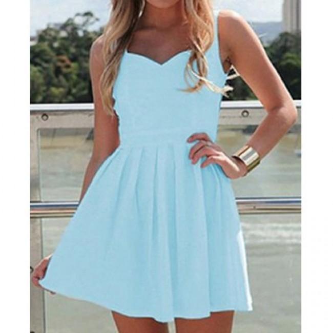 Elegant Sweetheart Neck Sleeveless Solid Color Backless Dress For Women
