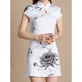 Ethnic Style Stand Collar Floral Print Short Sleeve Women's Dress