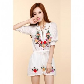 Ethnic Style Flower Embroidery Waist Drawstring Women's Dress