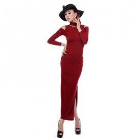 Glamour High Neck Shoulder Hollow Out Design Solid Color Long Sleeve Slim Fit Women's Maxi Dress