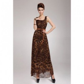 Leopard Print Scoop Neck Sleeveless Chiffon Retro Style Women's Maxi-Dress