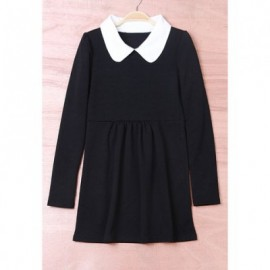 Preppy Style Lapel Solid Color Ruffles Long Sleeves Cotton Blend Women's Dress