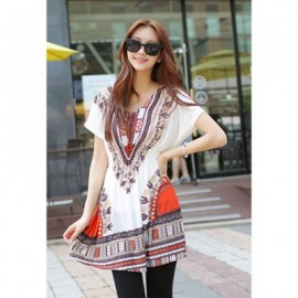 Retro Style V-Neck Ethnic Pattern Batwing Ice Cotton Dress For Women