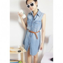 Retro Style Lapel Neckline Open Front Jeans Dress For Women