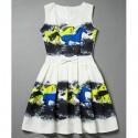 Stylish Scoop Neck Sleeveless Horse Print Pleated Dress For Women