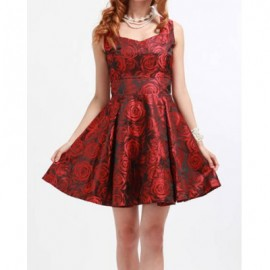 Stylish and Charming Rose Embellished Sleeveless Dress For Women