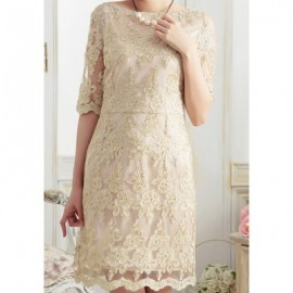 Vintage Boat Neck Half Sleeves Lace Dress For Women