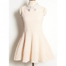 Vintage Flat Collar Sleeveless Lace Splicing Beaded Dress For Women