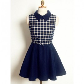Vintage Flat Collar Sleeveless Plaid Woolen Dress For Women