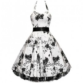 Vintage Halterneck Floral Print Sleeveless Pleated Country Western Dresses For Women