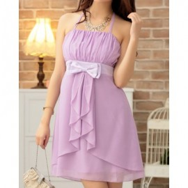 Vintage Halterneck Solid Color Pleated Bowknot Prom Dress For Women