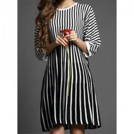 Vintage Jewel Neck 3/4 Length Sleeves Striped Dress For Women
