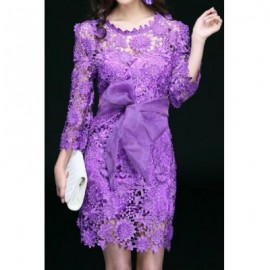 Vintage Jewel Neck 3/4 Sleeves Hollow Out Lace Dress For Women