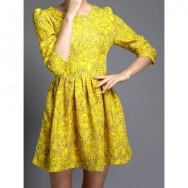 Vintage Jewel Neck 3/4 Sleeves Print Dress For Women