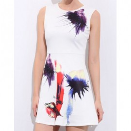 Vintage Jewel Neck Abstract Print Sleeveless Dress For Women
