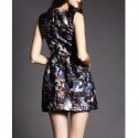 Vintage Jewel Neck Butterfly Printed Sleeveless Dress For Women