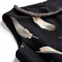 Vintage Jewel Neck Feather Printed Sleeveless Beading Dress For Women