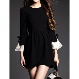 Vintage Jewel Neck Flare Sleeves Solid Color Dress For Women