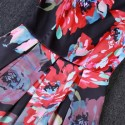 Vintage Jewel Neck Floral Print Sleeveless Pleated Dress For Women