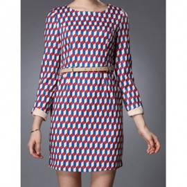 Vintage Jewel Neck Geometric Print Long Sleeves Dress For Women