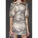 Vintage Jewel Neck Half Sleeves Beaded Geometric Dress For Women