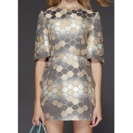 Vintage Jewel Neck Half Sleeves Beaded Geometric Dress For Women