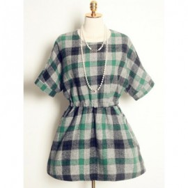 Vintage Jewel Neck Half Sleeves Plaid Woolen Dress For Women