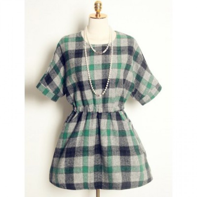 Vintage Jewel Neck Half Sleeves Plaid Woolen Dress For Women