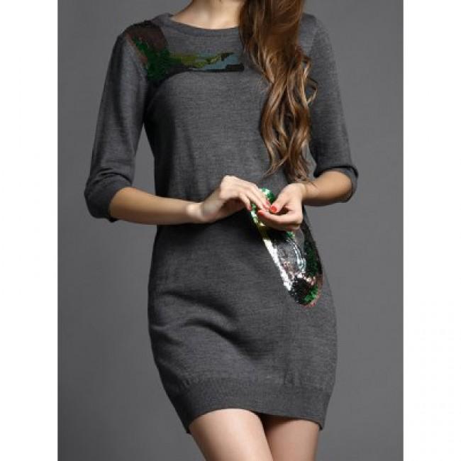 Vintage Jewel Neck Half Sleeves Sequin Sweater Dress For Women