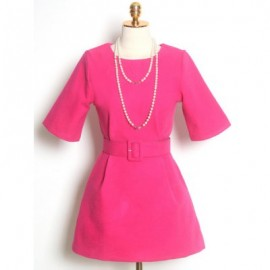 Vintage Jewel Neck Half Sleeves Solid Color Woolen Dress For Women