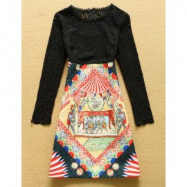 Vintage Jewel Neck Long Sleeves Lace Splicing Print Dress For Women
