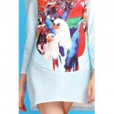 Vintage Jewel Neck Long Sleeves Owl Printed Dress For Women