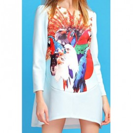 Vintage Jewel Neck Long Sleeves Owl Printed Dress For Women