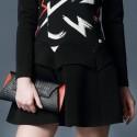 Vintage Jewel Neck Long Sleeves Print Flounce Dress For Women