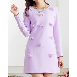 Vintage Jewel Neck Long Sleeves Solid Color Handmade Flowers Dress For Women