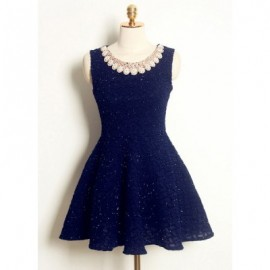 Vintage Jewel Neck Sleeveless Solid Color Rhinestoned Dress For Women