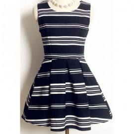Vintage Jewel Neck Sleeveless Striped Printed A-Line Dress For Women