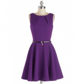 Vintage Jewel Neck Solid Color A-Line Dress For Women