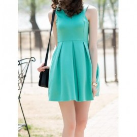 Vintage Keyhole Neck Sleeveless Solid Color Dress For Women