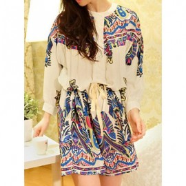 Vintage Long Sleeves Print Drawstring Dress For Women