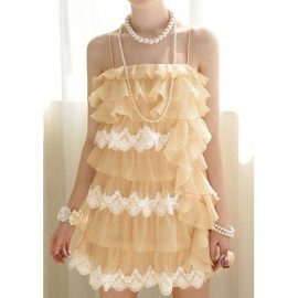 Vintage Multi-Layered Flounce Lace Splicing Spaghetti Strap Dress For Women